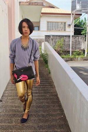 grey christian dior sweater - gold metallic Lovely wholesale leggings