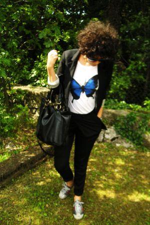 black Zara pants - white t-shirt - black Bershka blazer - silver Tiger