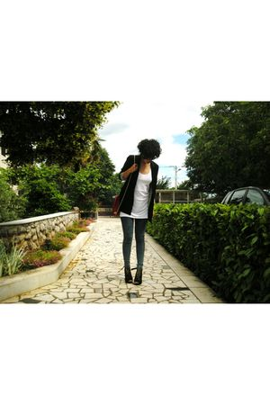 silver Miss Selfridges jeans - black Bershka blazer - white H&M top - black Vani