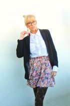 black Mango blazer - dark brown Calzesdonia tights - light pink Zara skirt - off