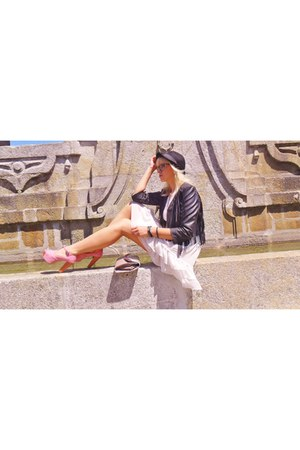 white Street stores dress - black H&M hat - black H&M jacket - pink Romwecom san