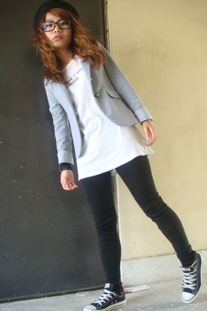 hat - Zara blouse - Converse t-shirt - tights - Converse shoes