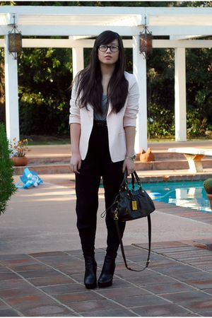 gray Forever 21 top - pink Forever 21 blazer - black Zara pants - gray Marc by M