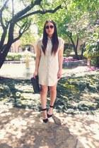 black heels Zara shoes - light blue denim Forever 21 dress