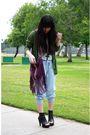 Gray-h-m-shirt-green-gap-cardigan-blue-forever-21-pants-purple-forever-21-
