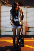 brown faux fur Forever 21 vest - black riding Cathy Jean boots