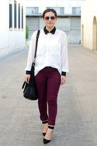 black Zara shoes - maroon cotton on jeans - white American Apparel shirt
