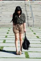 green BORA shirt - brown H&amp;M shorts - black H&amp;M purse - beige Jeffrey Campbell s