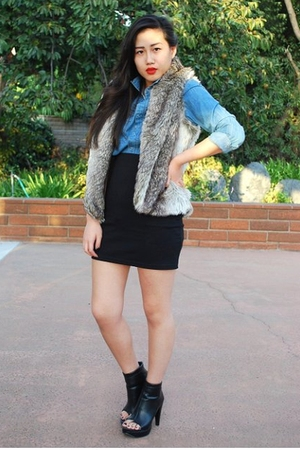 H&amp;M shirt - Forever 21 vest - H&amp;M skirt - Forever 21 boots