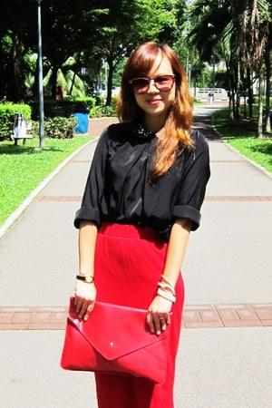 black sequin-collared shirt - hot pink envelope purse - red midi skirt