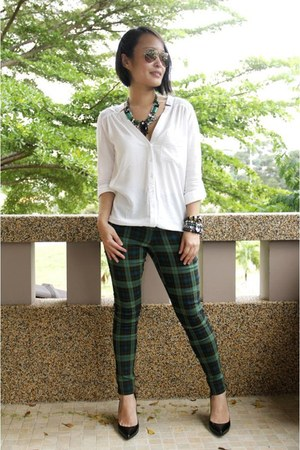 green SOMETHING BORROWED pants - white Femme Elegante shirt
