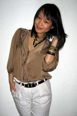 brown Zara blouse - white Topshop pants
