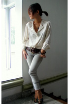 white vintage blouse - gray River Island jeans - Jocassi London belt - Charles &