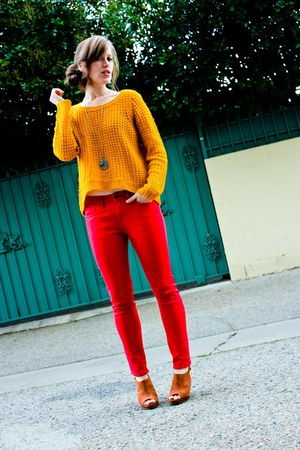 yellow Pac Sun sweater - red thrifted jeans - bronze Sole Society heels