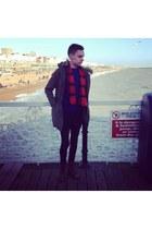 blue H&M sweater - red vintage 1460 Dr Martens boots - olive parka asos coat
