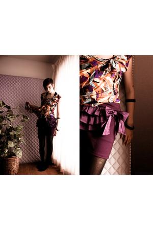 purple Urban Behaviour blouse - purple Agaci skirt - black Target tights
