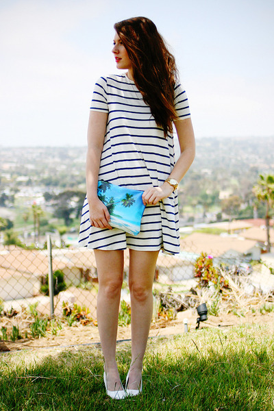 white asos dress - turquoise blue DIY purse - white Pleaser heels