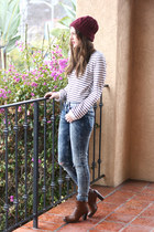 franco sarto boots - asos jeans - Urban Outfitters hat - Forever 21 sweater