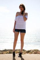 white DIY top - blue kasil shorts - black Target heels