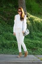 white Zara pants - white Chicwish blouse