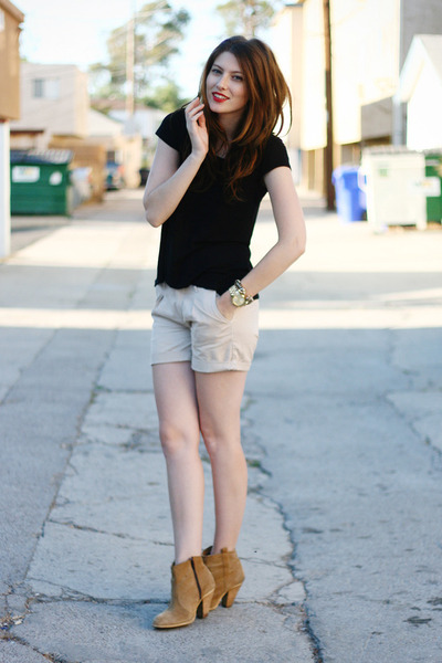 camel asos boots - black H&amp;M shirt - beige kasil shorts