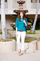 turquoise blue Forever 21 blouse - beige Steve Madden shoes