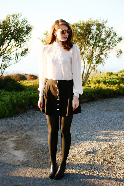 off white asos blouse - black asos skirt