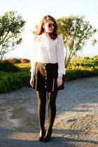 off white asos blouse - black asos skirt