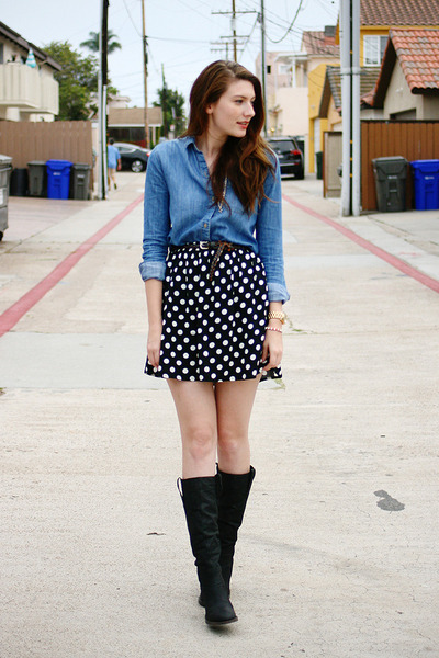 black Target skirt - black Steve Madden boots - blue BDG shirt