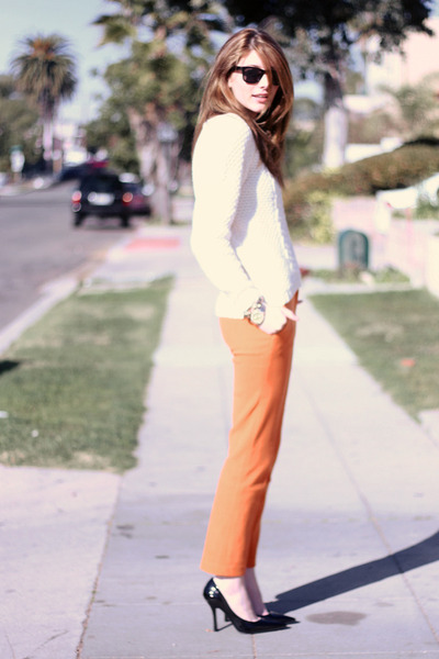 orange tailored asoscom pants - white kntited ANA sweater