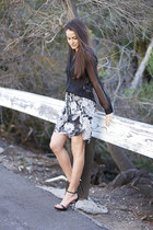 white Zara skirt - black Zara top