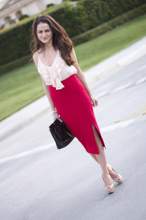 asos skirt - intermix top - Christian Louboutin heels