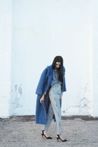 blue fuzzy oversized coat - ivory American Apparel pants - black Zara heels