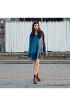 maroon red python vintage boots - blue denim and knit vintage sweater