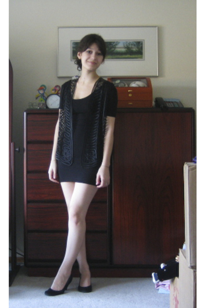 my moms vest - aa dress - me too shoes