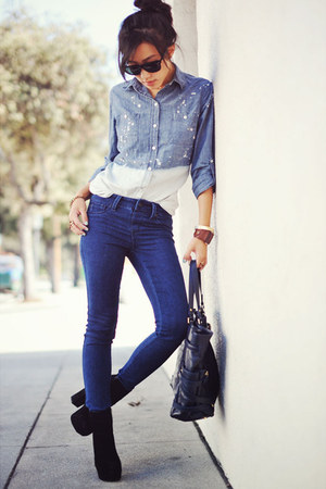 H&amp;M bracelet - Dolce Vita boots - navy sold design lab jeans
