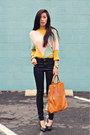 Zara-shoes-j-brand-jeans-light-yellow-colorblock-romwe-sweater