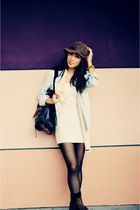 blue Gap coat - white Forever 21 dress - black Esprit - brown Forever 21 shoes -