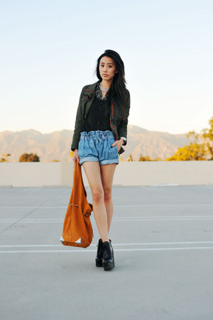 Helmut Lang shorts - sam edelman boots - army green army anorak 2020AVE jacket