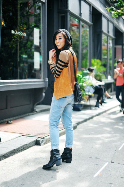 vintage vest - Lucky Brand boots - Zara jeans - striped tan Forever 21 sweater