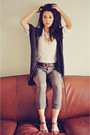 Ivory-vintage-top-white-forever-21-blouse-gray-forever-21-cardigan-army-gr