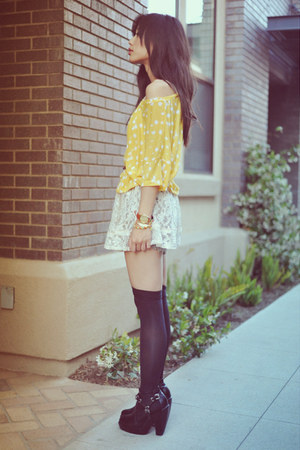 black Ebay boots - lace American Rag dress - Forever 21 socks - light yellow pol