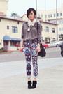vintage blouse - Jeffrey Campbell boots - printed Zara scarf