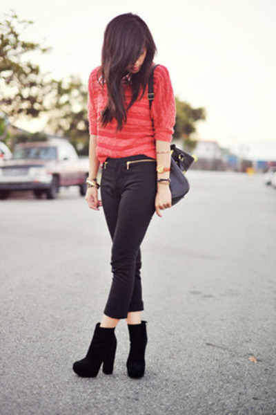 red Forever 21 sweater - Dolce Vita boots - VJ Style bag - black Zara pants