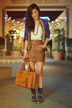 Lena & Stevie Vintage jacket - leather vintage bag - lace under Forever 21 top -