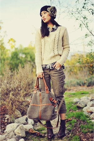 cream Forever 21 sweater - dark brown lace-up booties Joie boots