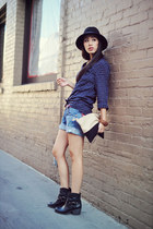 Lucky Brand boots - navy plaid cotton alpinestars shirt - shampa love bag