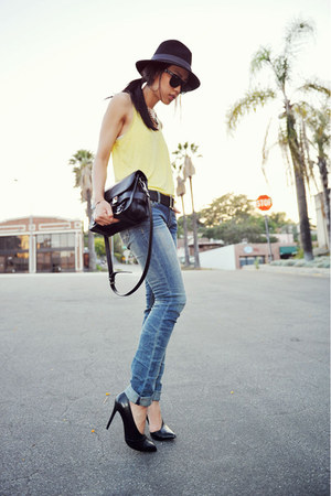 light yellow H&M top - Kasil Workshop jeans - braided black Jessica Simpson hat
