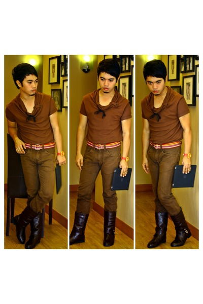 brown jeans - crimson boots - red belt - dark brown top
