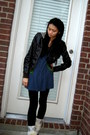 Brown-forever-21-jacket-green-nordstroms-jacket-blue-urban-outfitters-dress-